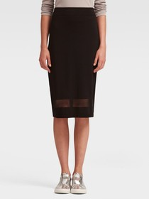STRETCH MIDI SKIRT WITH MESH DETAIL