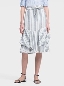 STRIPED LINEN RUFFLE-TIERED SKIRT WITH WAIST TIE