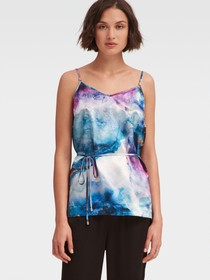 PRINTED SATIN CAMISOLE WITH WAIST TIE