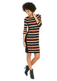 Petite 3/4 Sleeve Stripe Rib Dress