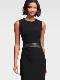 SHEATH DRESS WITH FAUX-LEATHER DETAIL