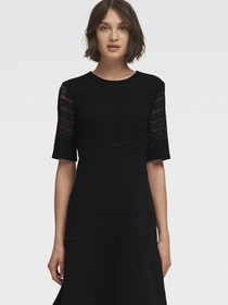 FIT-AND-FLARE DRESS WITH LASER-CUT BODICE