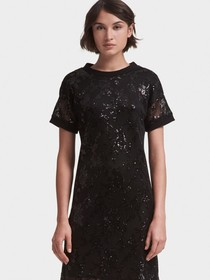 MESH SEQUINED T-SHIRT DRESS