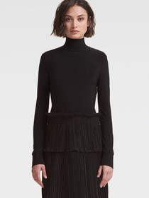 TURTLENECK SWEATER DRESS WITH PLEATED SKIRT