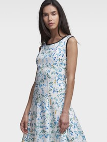 STEM-PRINT FIT-AND-FLARE DRESS