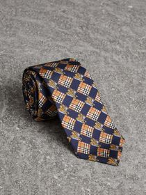 Modern Cut Tiled Archive Print Silk Tie in Navy