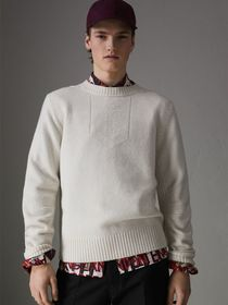 Anchor Intarsia Merino Wool Cashmere Sweater in Na