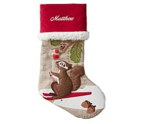 Skiing Squirrel Woodland Stocking