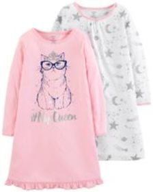Kid Girl 2-Pack Kitty Nightgowns
