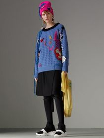 Embellished Wool Lace Sweater in Blue