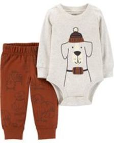 Baby Boy2-Piece Dog Bodysuit Pant Set