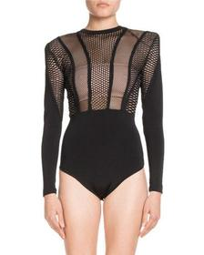 Balmain High-Neck Long-Sleeve Mesh-Top Bodysuit