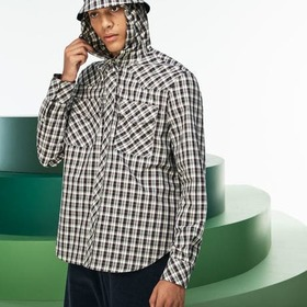 Men's Fashion Show Hooded Check Poplin Shirt