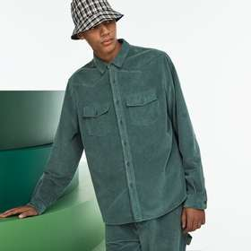 Men's Fashion Show Ribbed Cotton Velour Shirt