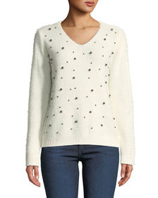Neiman Marcus Pullover Sweater with Beaded Detail