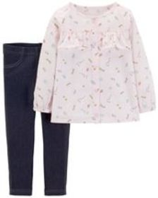 Toddler Girl2-Piece Space Button-Front & Jegging S