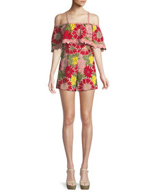 Alice + Olivia Anelle Off-the-Shoulder Lace Ruffle