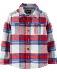 Baby Boy Button-Front Plaid Shirt