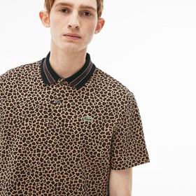 Men's LIVE Regular Fit Leopard Print Interlock Pol
