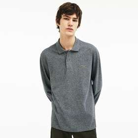 classic fit long-sleeve Polo Shirt in marl petit p