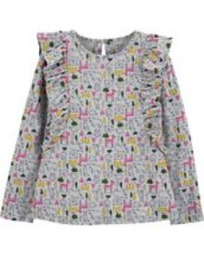 Kid GirlAnimal Print Ruffle Slub Top