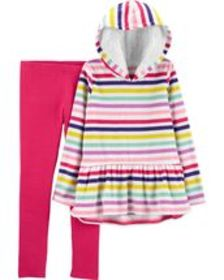 Kid Girl2-Piece Striped Fleece Hoodie & Legging Se