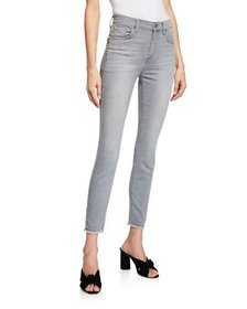 7 For All Mankind Mid-Rise Frayed-Hem Skinny Jeans