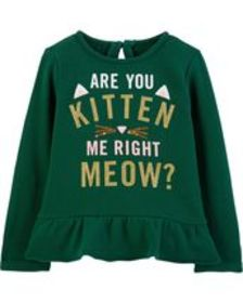 Baby Girl Are You Kitten Me Sequin Ruffle Top