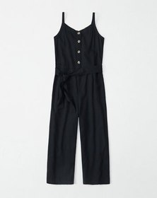 button-up tie-front jumpsuit, red stripe