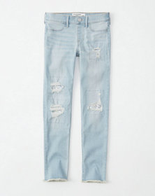 sequin ripped jean leggings, ripped light wash wit
