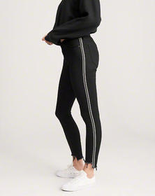 Low Rise Ankle Jeans, BLACK With Side Stripe