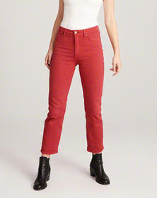 High Rise Ankle Straight Jeans, RED