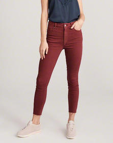High Rise Ankle Jeans, DARK RED
