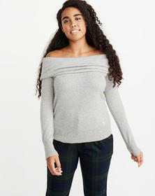 Cashmere Off-The-Shoulder Sweater, GREY
