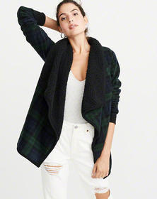 Sherpa Open Front Cardigan, GREEN PLAID