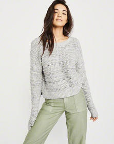 Slouchy Boucle Sweater, MARLED GREY