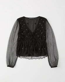 Embellished Tie-Front Mesh Top, EMBELLISHED BLACK