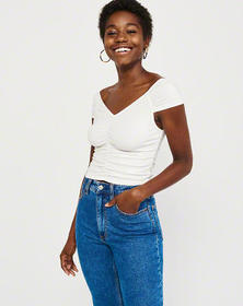 Ruched Off-The-Shoulder Top, WHITE