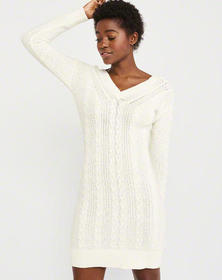 Cable Tie-Back Sweater Dress, OFF WHITE