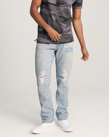 Ripped Straight Jeans, RIPPED LIGHT WASH WITH REPA