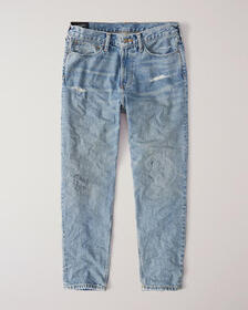 High Waist Taper Jeans, RIPPED LIGHT WASH