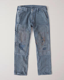 Straight Painter Jeans, RIPPED BLUE WITH PAINT