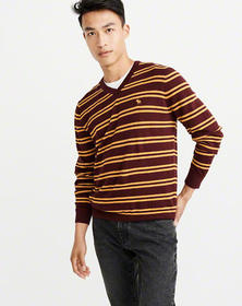 The A&F Icon V-Neck Sweater, BURGUNDY AND YELLOW S