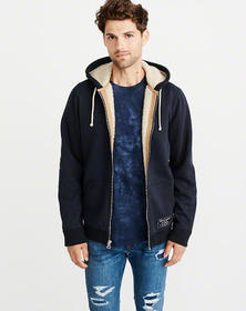 Sherpa-Lined Full-Zip Jacket, NAVY BLUE
