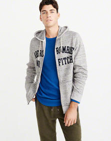 Full-Zip Logo Hoodie, HEATHER GREY