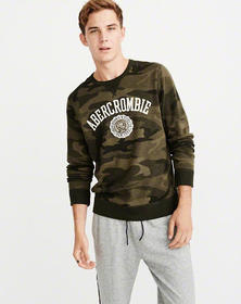 Graphic Logo Sweatshirt, OLIVE GREEN CAMO