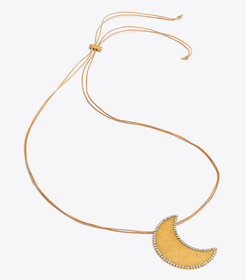 CELESTIAL CRESCENT MOON PENDANT NECKLACE