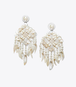 BEADED SHELL STATEMENT EARRING