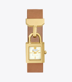 SURREY WATCH, LUGGAGE LEATHER/GOLD-TONE, 22 x 23.5