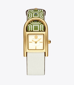 THAYER WATCH, GREEN LEATHER/GOLD-TONE, 25 x 39 MM